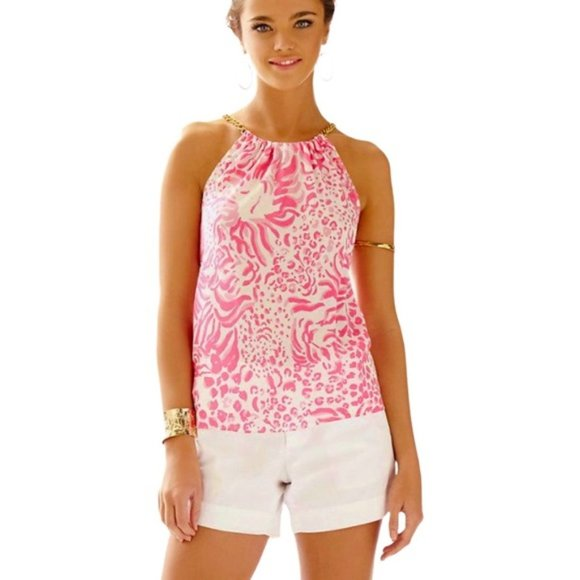 Lilly Pulitzer Riviera Silk Halter Top Get Spotted